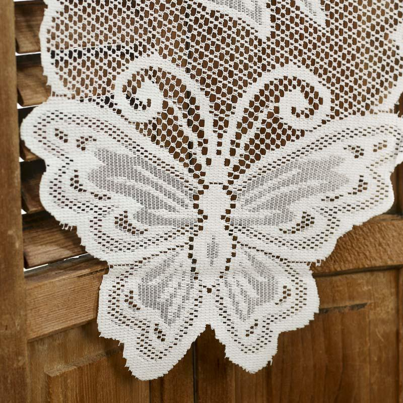 Ivory lace butterfly doily table runner crochet and lace for Lace home decor