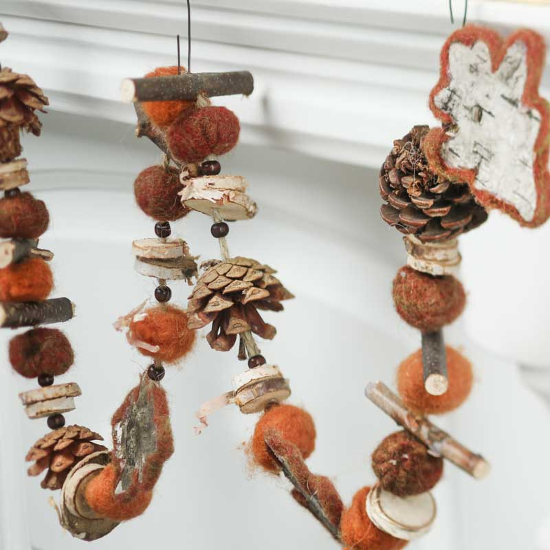 Rustic Wood Leaf And Pinecone Garland Fall And Halloween