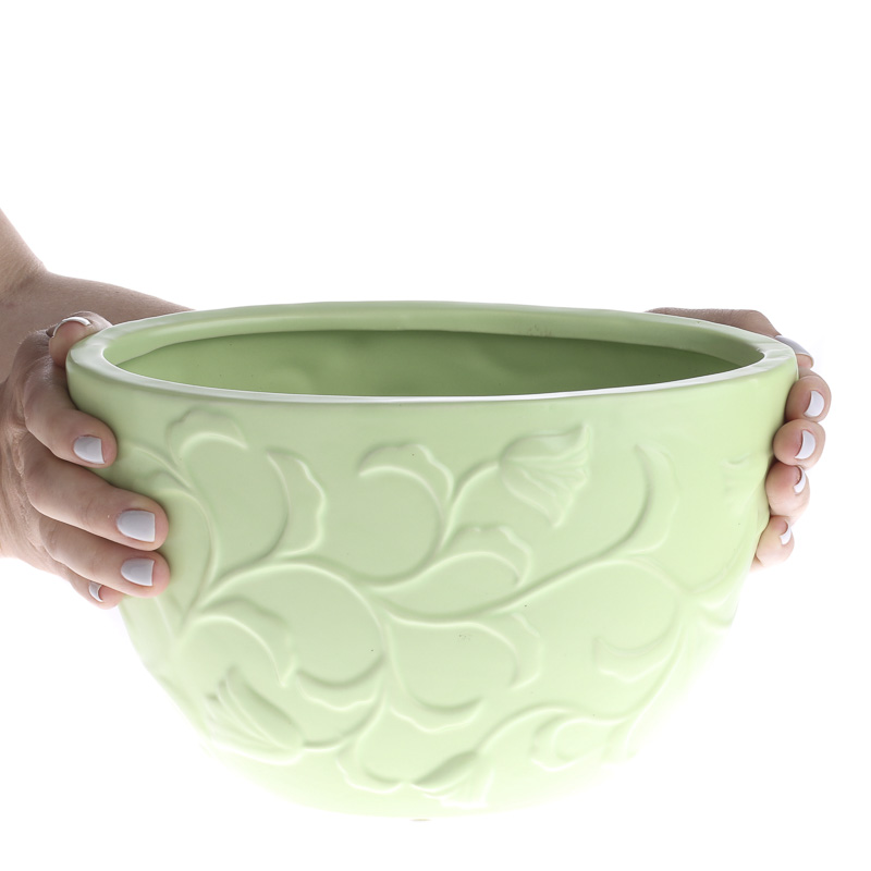Pistachio Green Ceramic Flower Pot Vase And Bowl Fillers