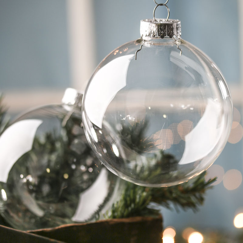 ready to personalize clear glass ball ornaments