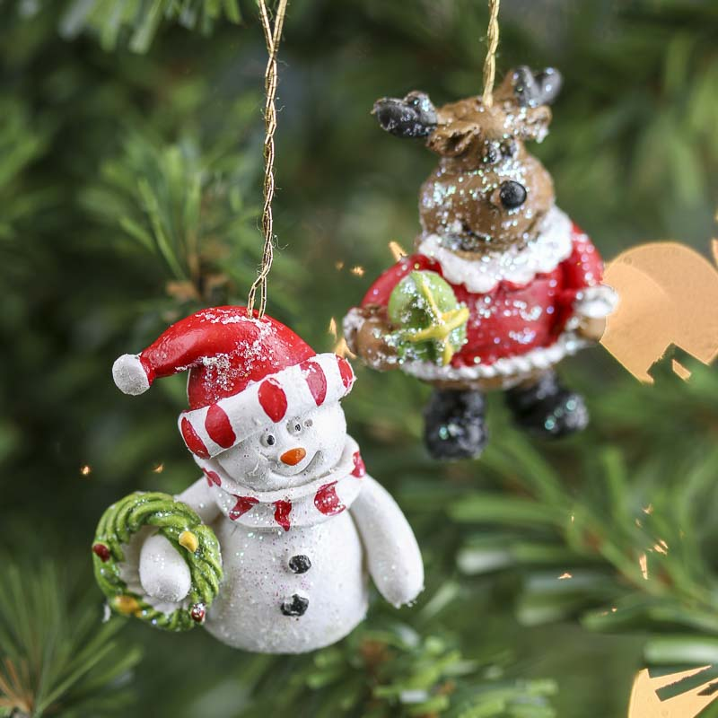 Miniature Snowman and Reindeer Ornaments - Christmas ...