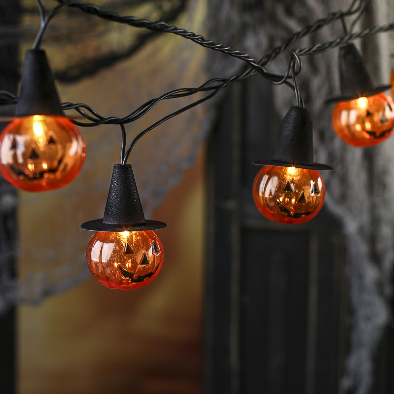 Halloween Globe String Lights : Jack O Lantern Witch String Lights - Table and Shelf Decorations - Fall and Halloween - Holiday ...