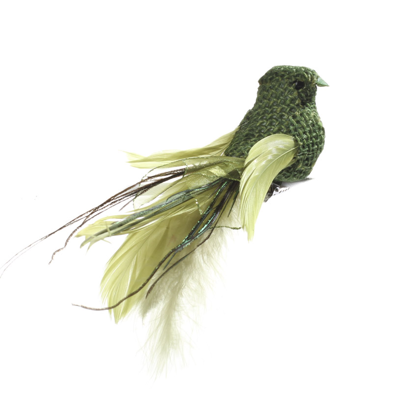 Green burlap and feather artificial bird artificial for Feathered birds for crafts