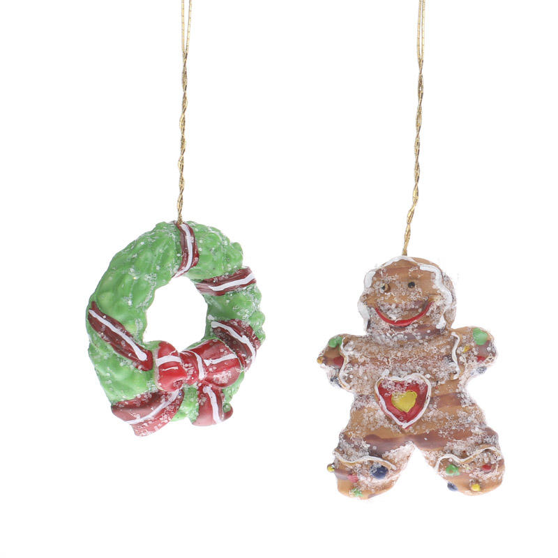 Miniature christmas wreath and gingerbread man ornaments
