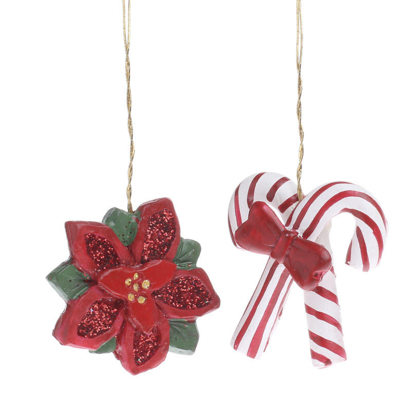 Miniature candy cane and poinsettia ornaments christmas