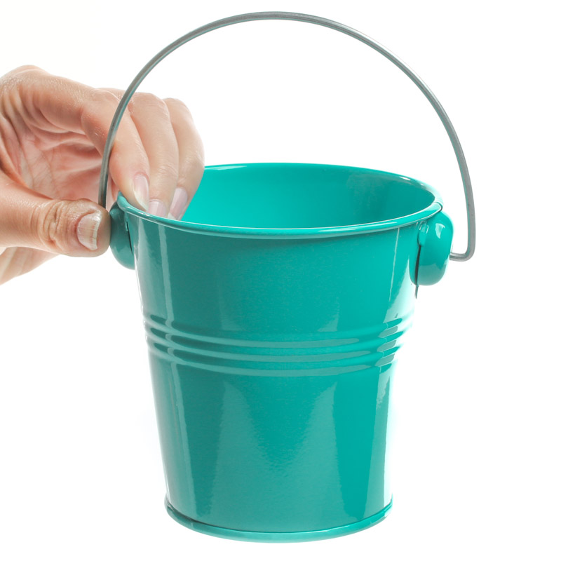 Turquoise metal pail baskets buckets boxes home decor for How to decorate a bucket