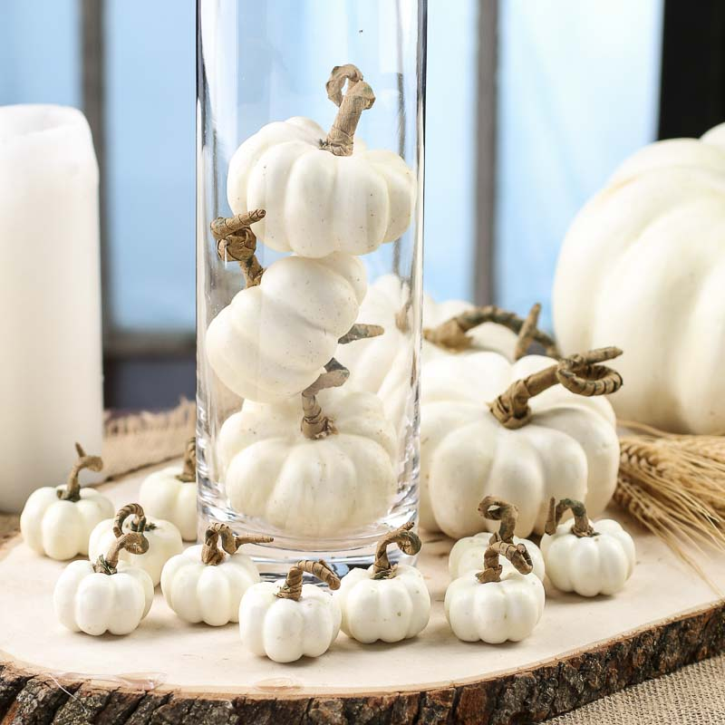 Small Cream Artificial Pumpkins Vase Fillers Table Scatters