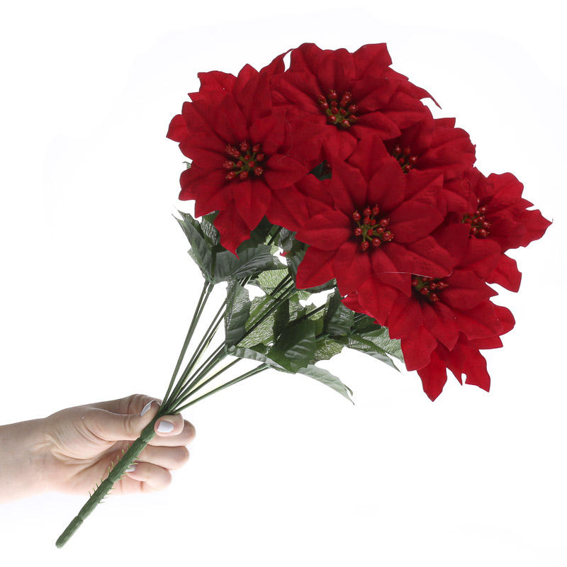 Red Artificial Poinsettia Bush Bushes Bouquets