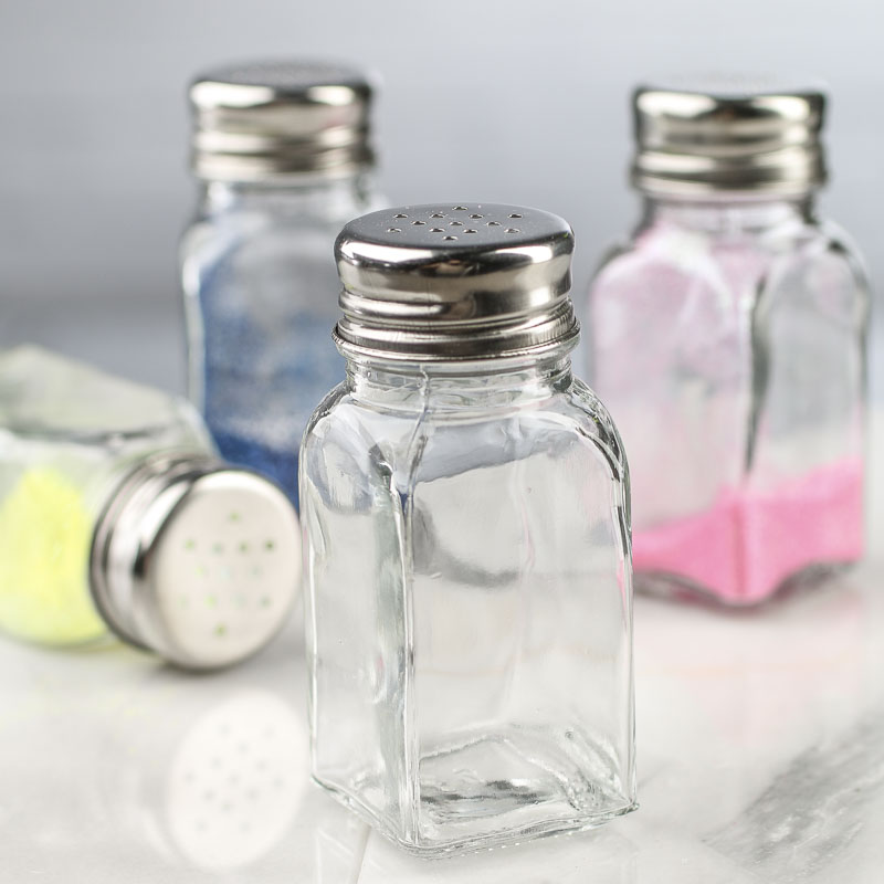 Small glass shaker jar bottle decorative containers for Small colored glass jars