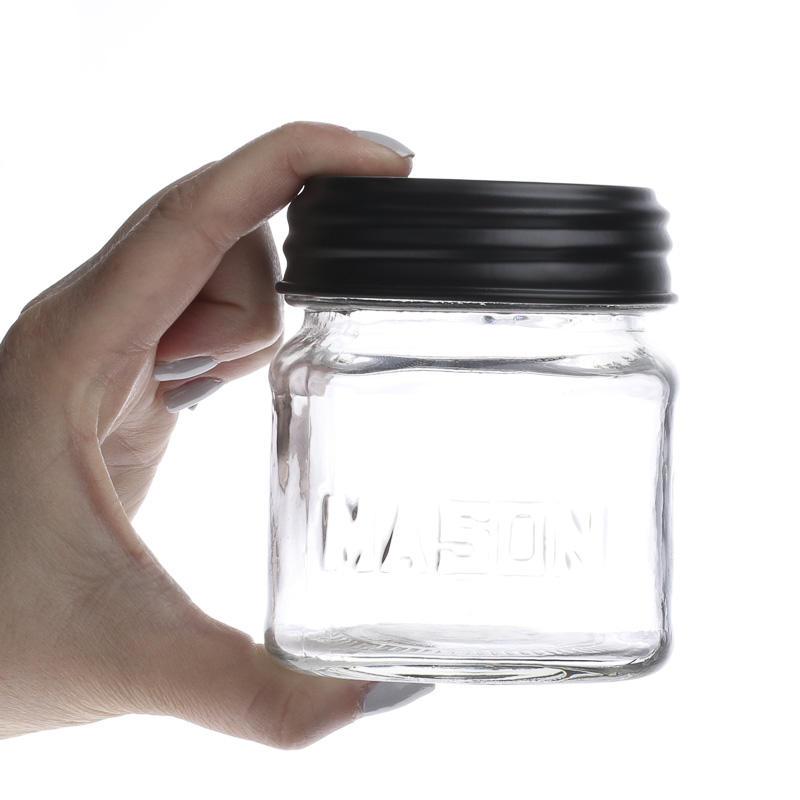 small glass mason jar with black lid what 39 s new primitive primitive decor. Black Bedroom Furniture Sets. Home Design Ideas