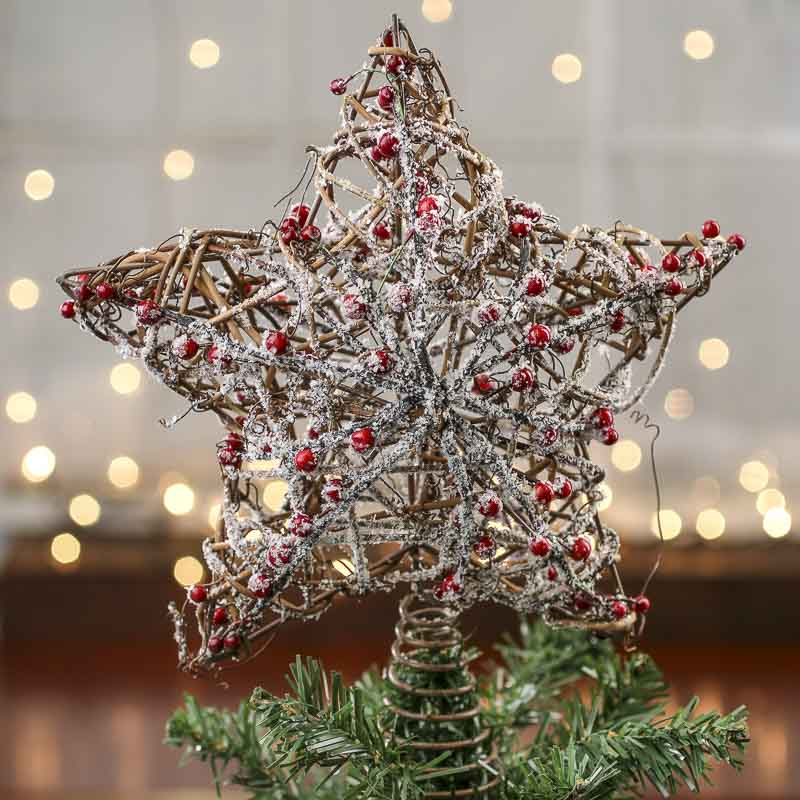 Snowy Rustic Twig And Berry Star Tree Topper
