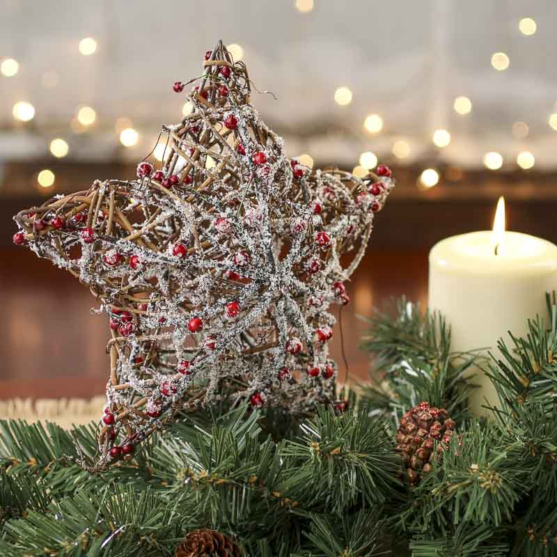Snowy Rustic Twig And Berry Star Tree Topper Trees And