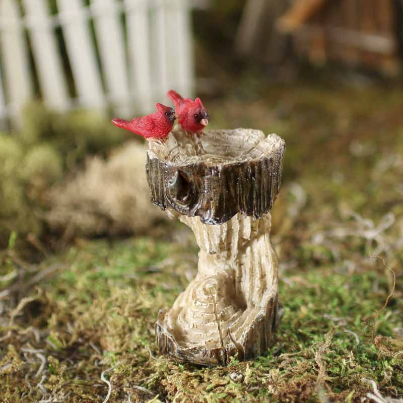 Miniature Cardinal and Tree Trunk Bird Bath - Fairy Garden ...