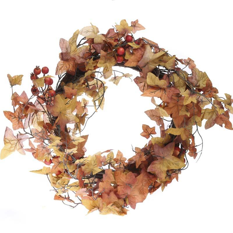 Fall artificial maple and berry wreath wreaths floral for Craft wreaths for sale