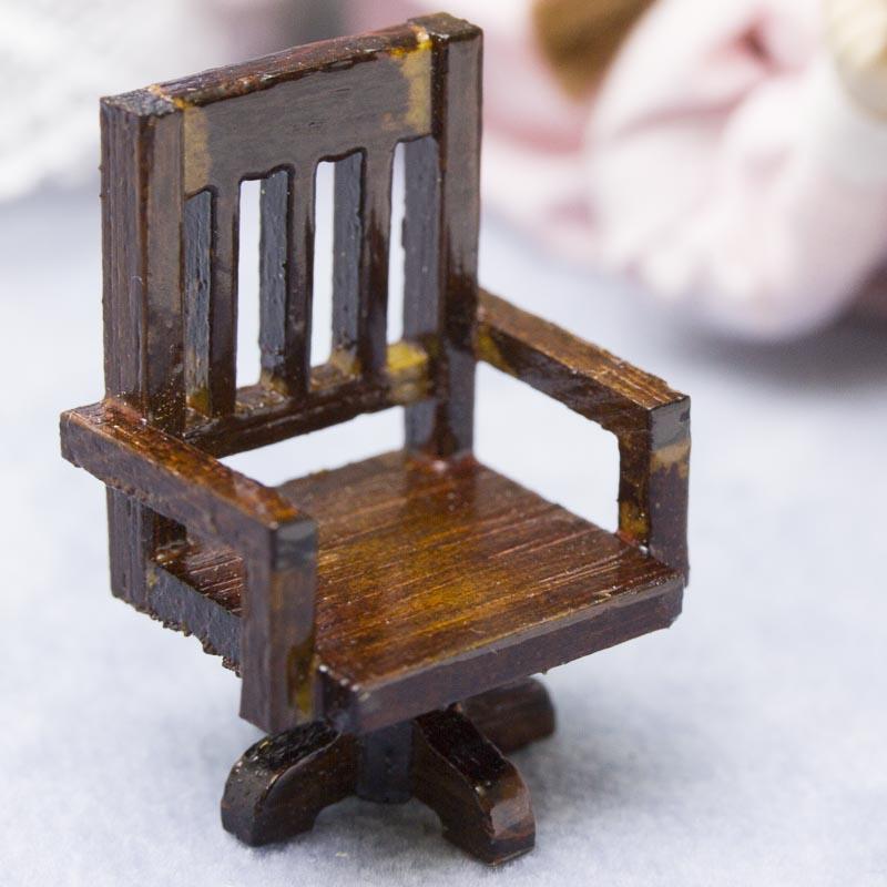 Dollhouse Miniature Rustic Wood Desk Chair Craft