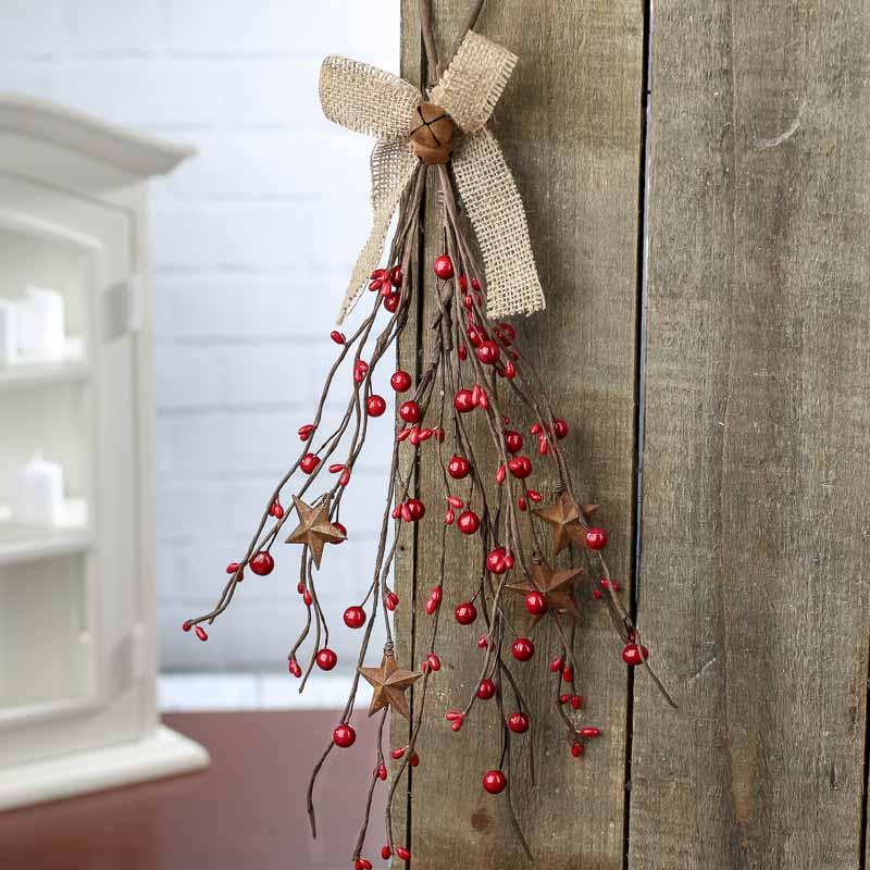 Click Here For A Larger View & Primitive Pip Berry Door Hanger - Pip Berries - Primitive Decor