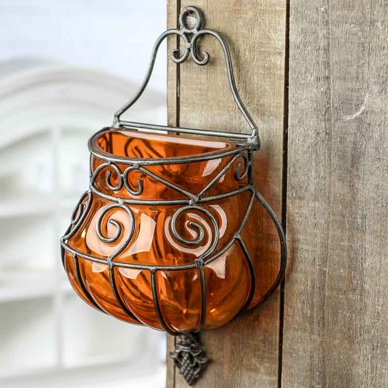 Orange Wrought Iron And Glass Wall Vase Wall Decor Home Decor