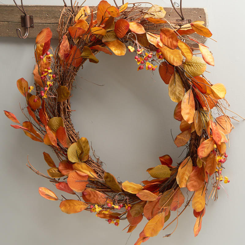Fall artificial bittersweet and leaf wreath wreaths for Craft wreaths for sale