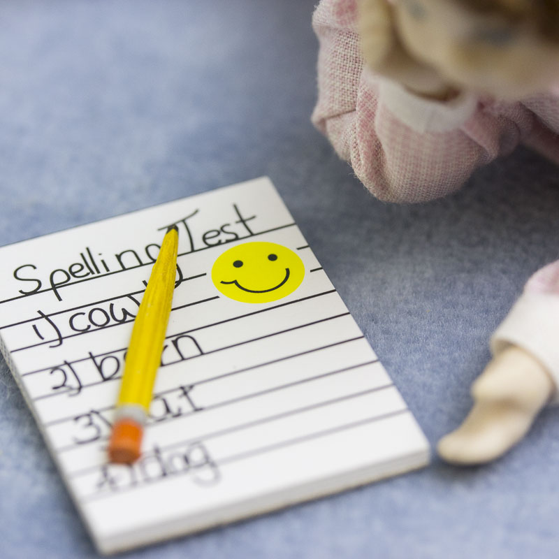Dollhouse Miniature Spelling Test with a Pencil