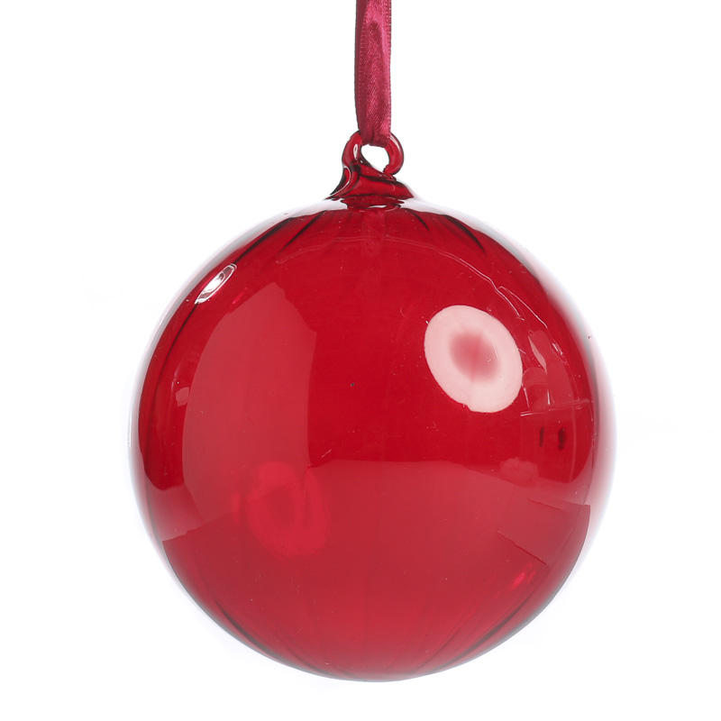 Large Red Swirl Glass Ball Ornament - Christmas Ornaments ...