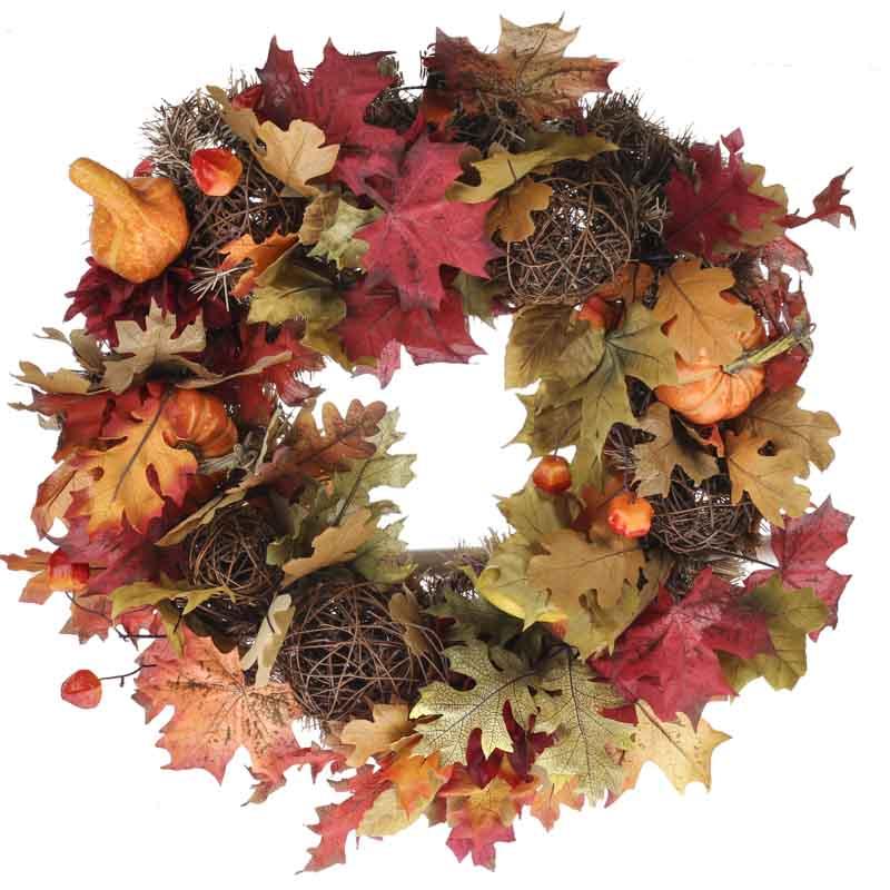 Fall artificial gourd and grapevine ball wreath wreaths