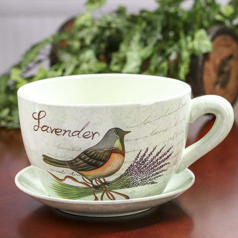 "Lavender Wedding Theme: ""Lavender"" Tea Cup And Saucer Flower Planter"