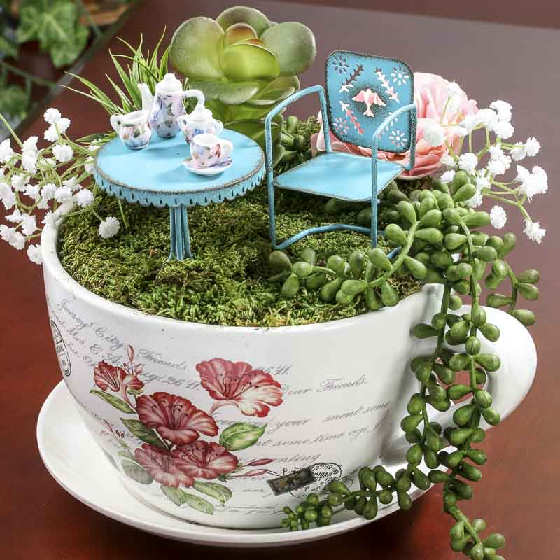 Jumbo French Inspired Tea Cup And Saucer Flower Planter Table And Shelf Sitters Home Decor