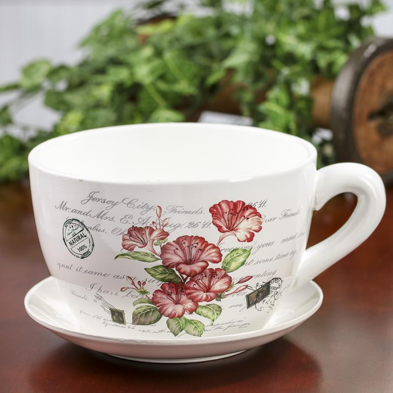 French Inspired Tea Cup And Saucer Flower Planter Vase And Bowl