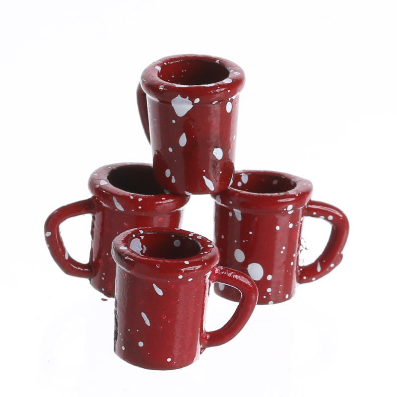 Dollhouse Miniature Enamelware Coffee Cups Miniatures