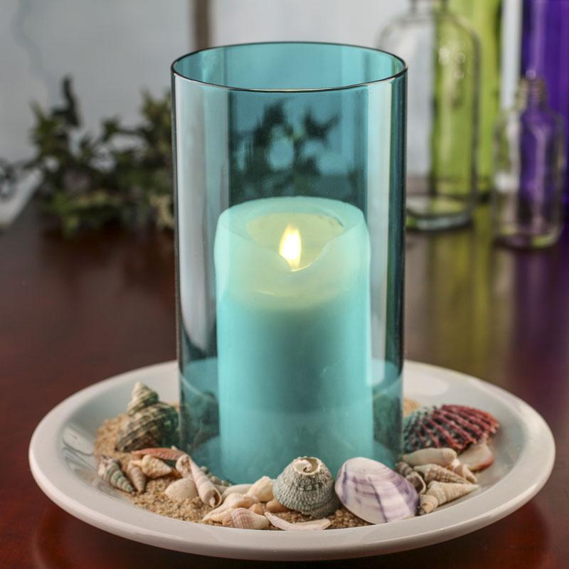 Home Interiors Candles Catalog: Calypso Blue Glass Hurricane