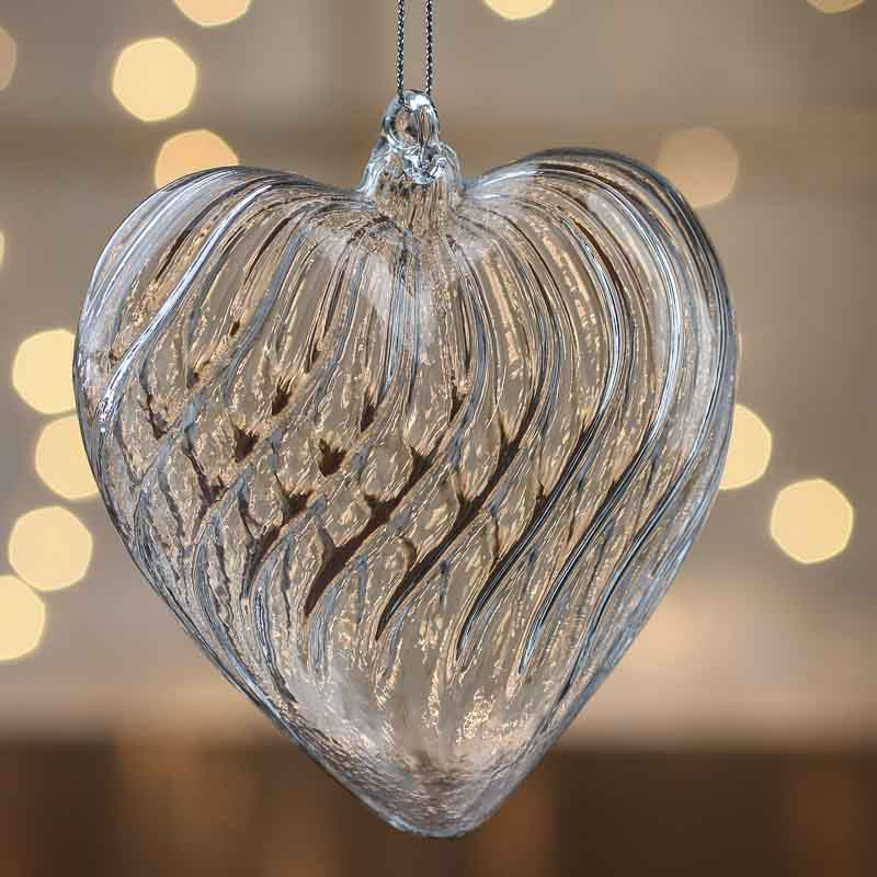hand blown glass heart ornament christmas ornaments