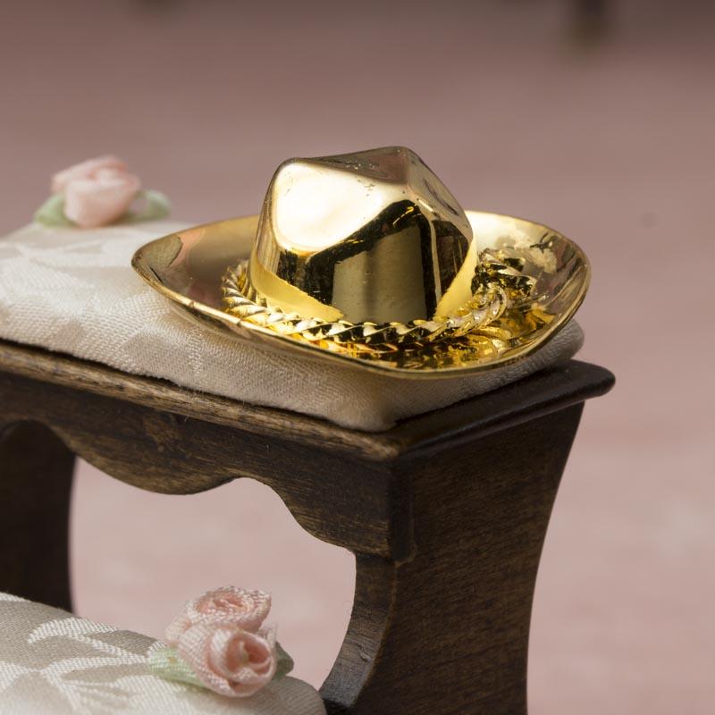 Miniature Gold Brass Cowboy Hat - Bedroom Miniatures - Dollhouse ... bdc69d6a2b1