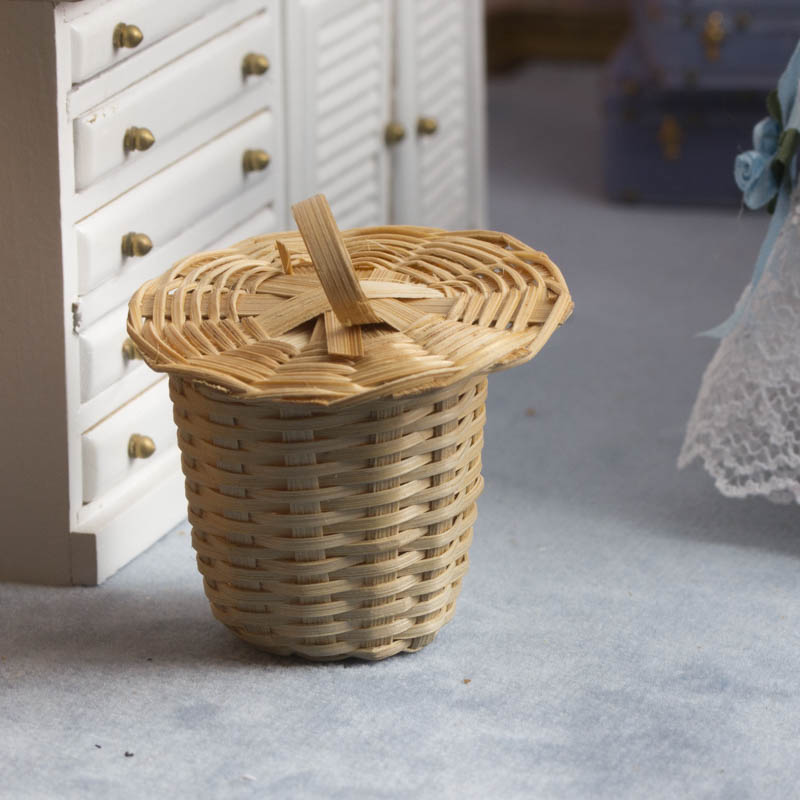 Bamboo Basket Making Supplies : Dollhouse miniature wicker basket bathroom laundry