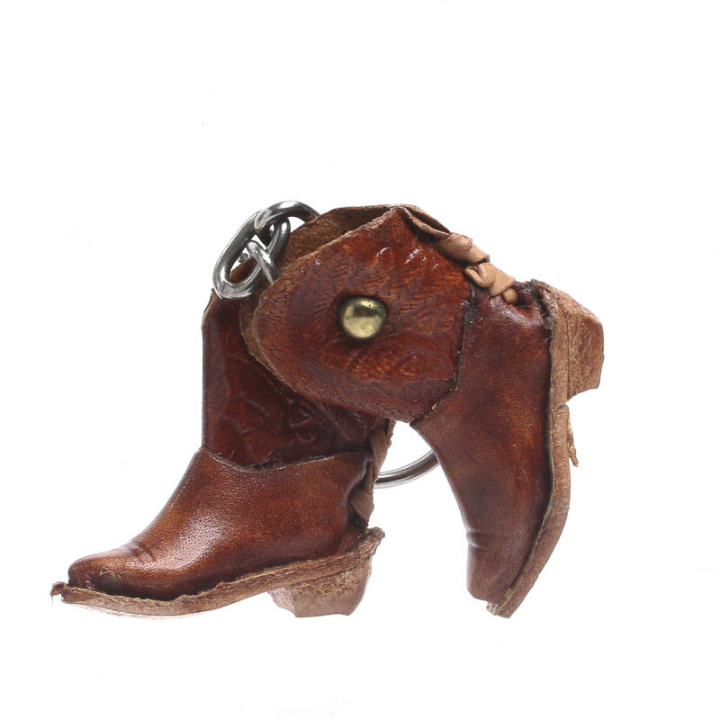 Miniature leather cowboy boots keychain on sale craft for Leather craft kits for sale