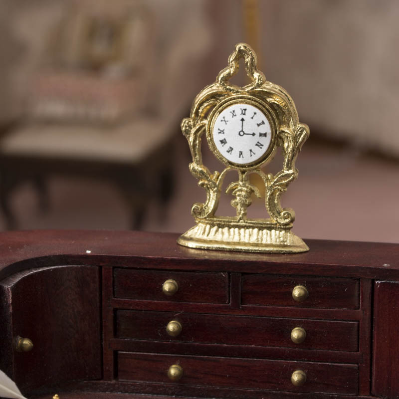 Dollhouse Miniature Old Fashioned Gold Clock Living Room