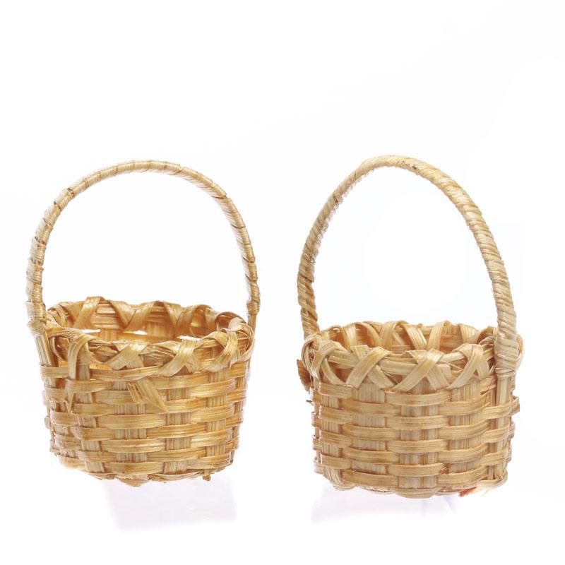 Dollhouse Miniature Small Mini Vintage Oval Resin Wicker Basket 1:12
