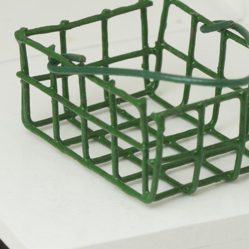 Dollhouse Miniature Green Wire Basket