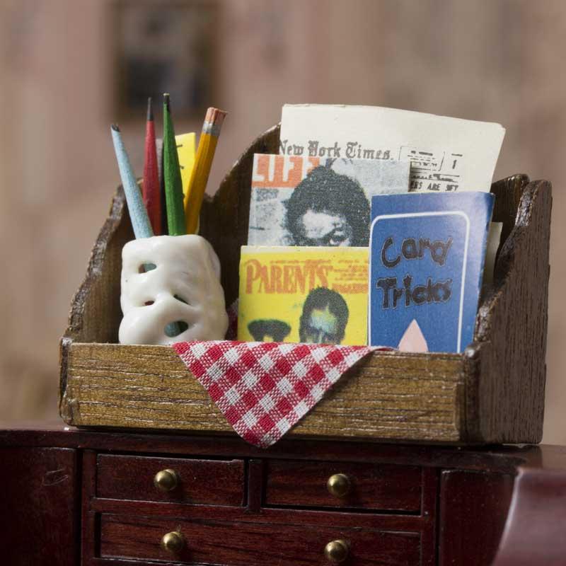 Dollhouse Miniature Magazine Shelf