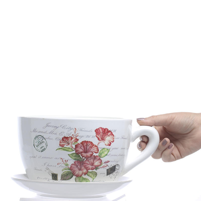 French Inspired Tea Cup and Saucer Flower Planter - Vase ...