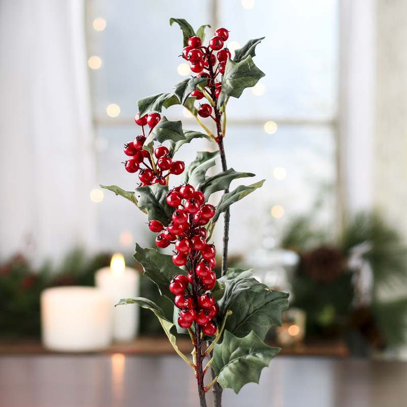 Large Artificial Holly Stem Picks And Stems Floral