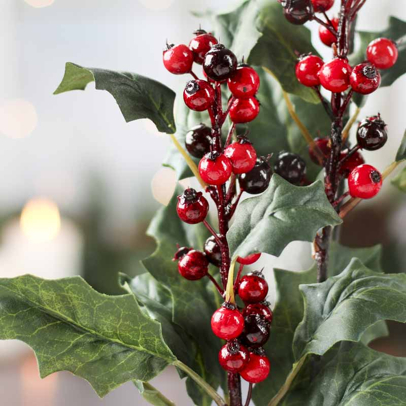 Large Artificial Holly Stem Christmas Holiday Florals