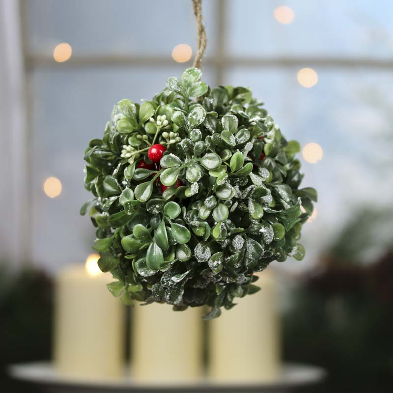Holiday Artificial Boxwood Kissing Ball Vase And Bowl Fillers Home Decor