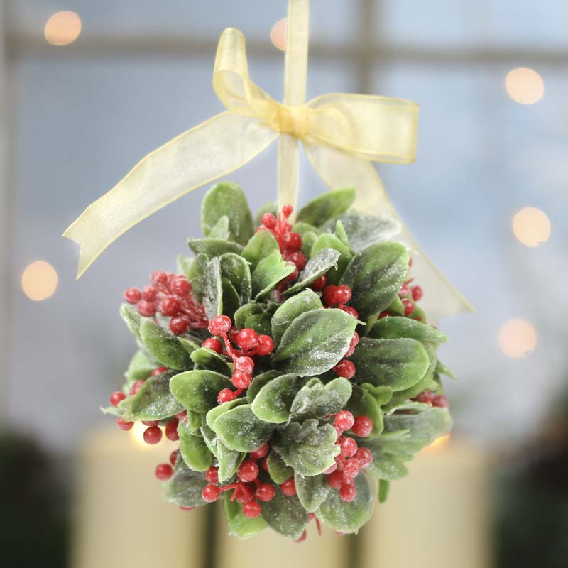Frosted Artificial Mistletoe and Holly Kissing Ball - Wall Art ...