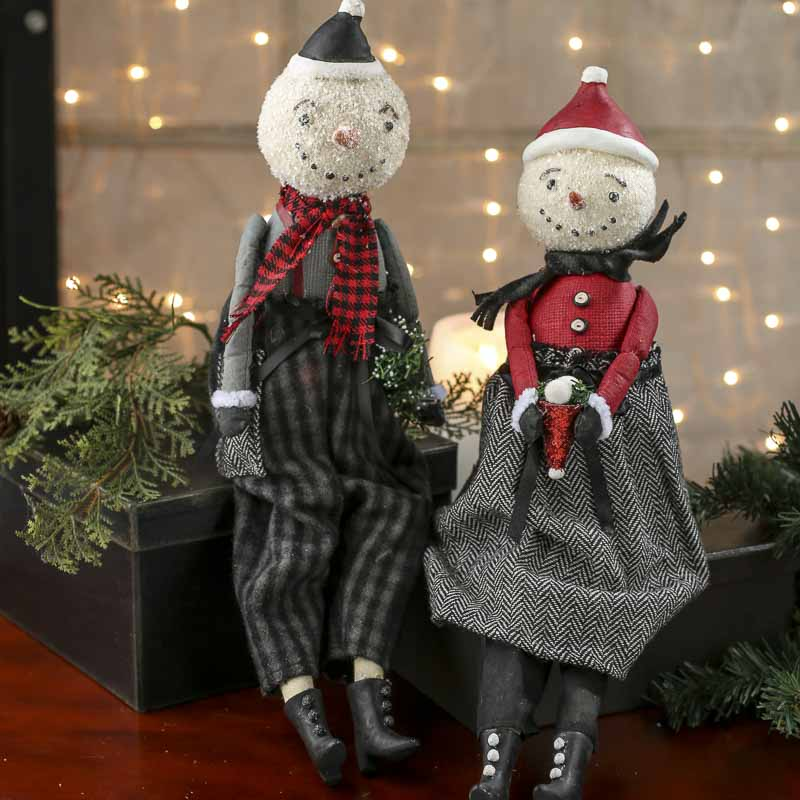 vintage inspired paper clay snowmen shelf sitters