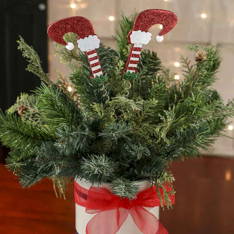 Glittered Elf Legs Christmas Floral Pick - Picks and Stems ...