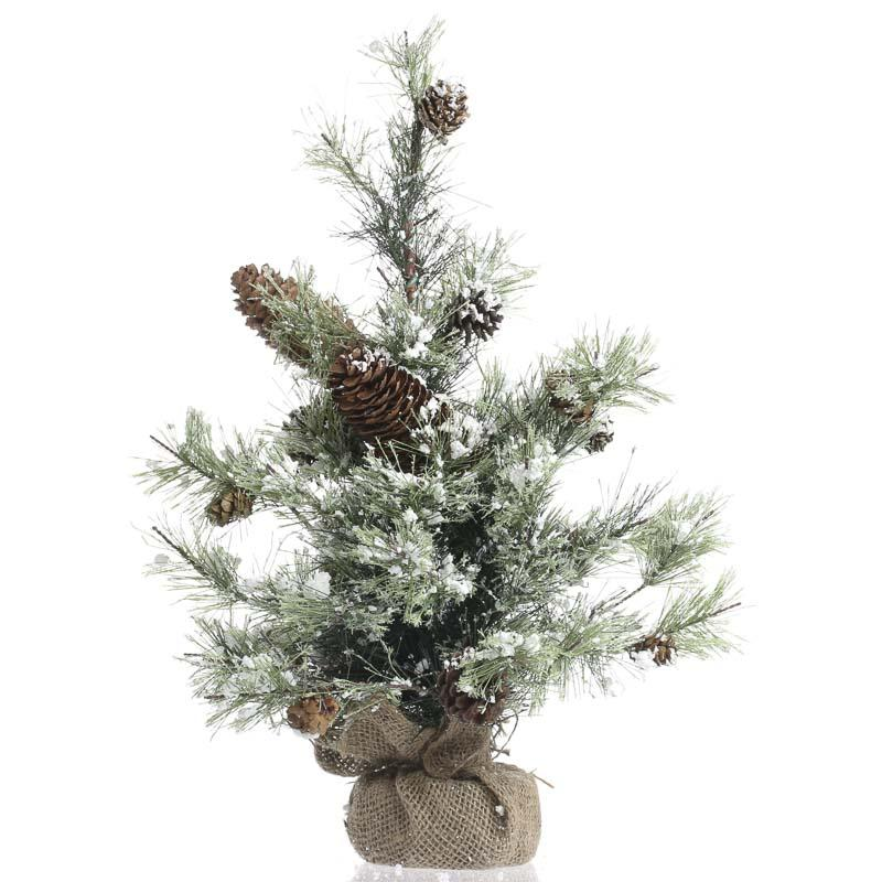 Snowy artificial pine tree trees and toppers christmas