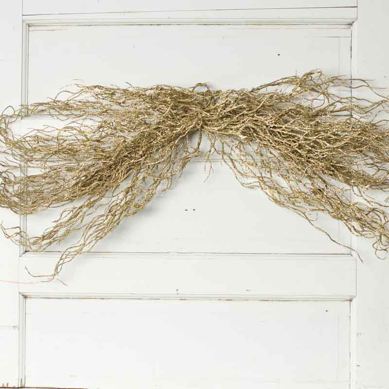 Gold glittered artificial twig swag wall decor home decor for Twig decorations home