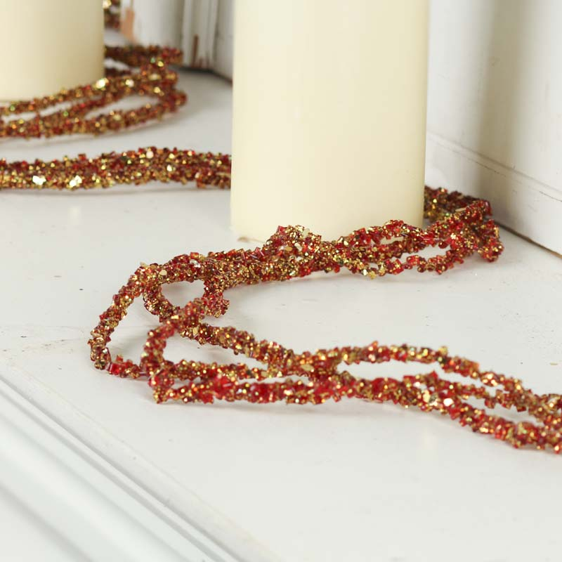and gold sparkling bead and glitter garland on sale
