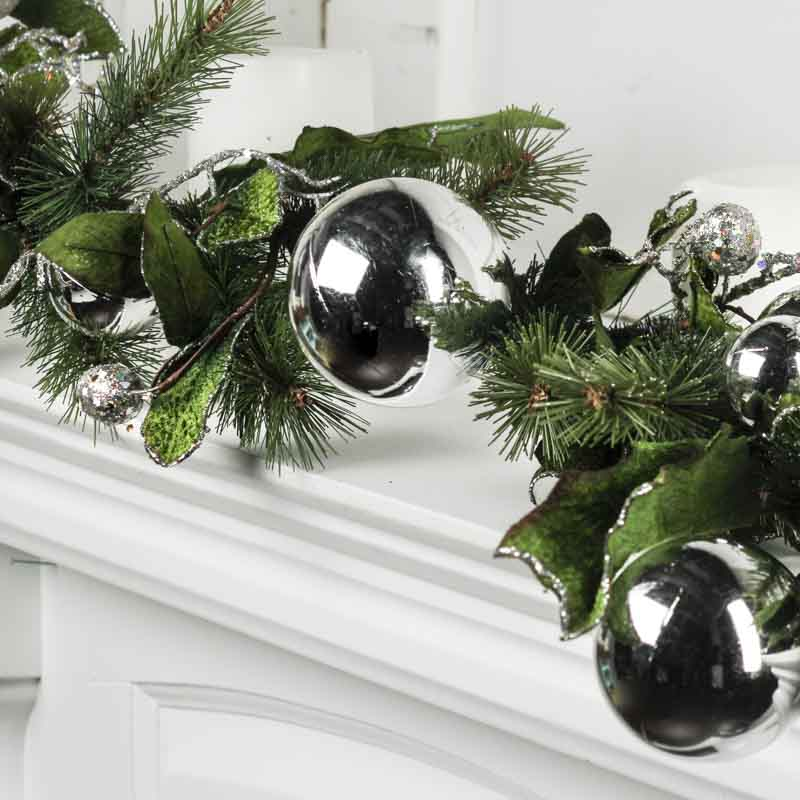 Christmas Artificial Evergreen And Silver Ornaments Garland