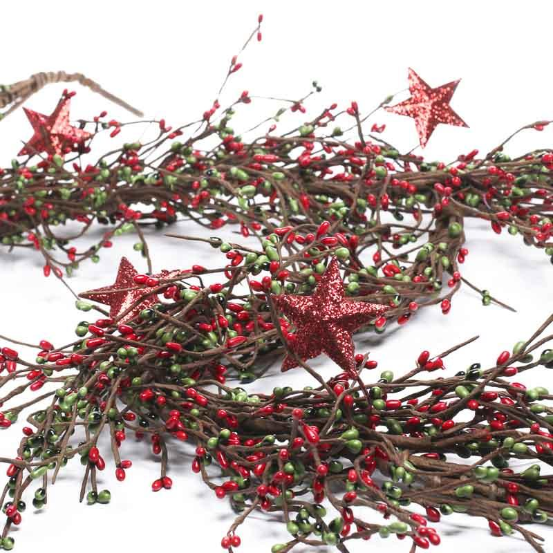 Holiday sparkling star and pip berry garland christmas